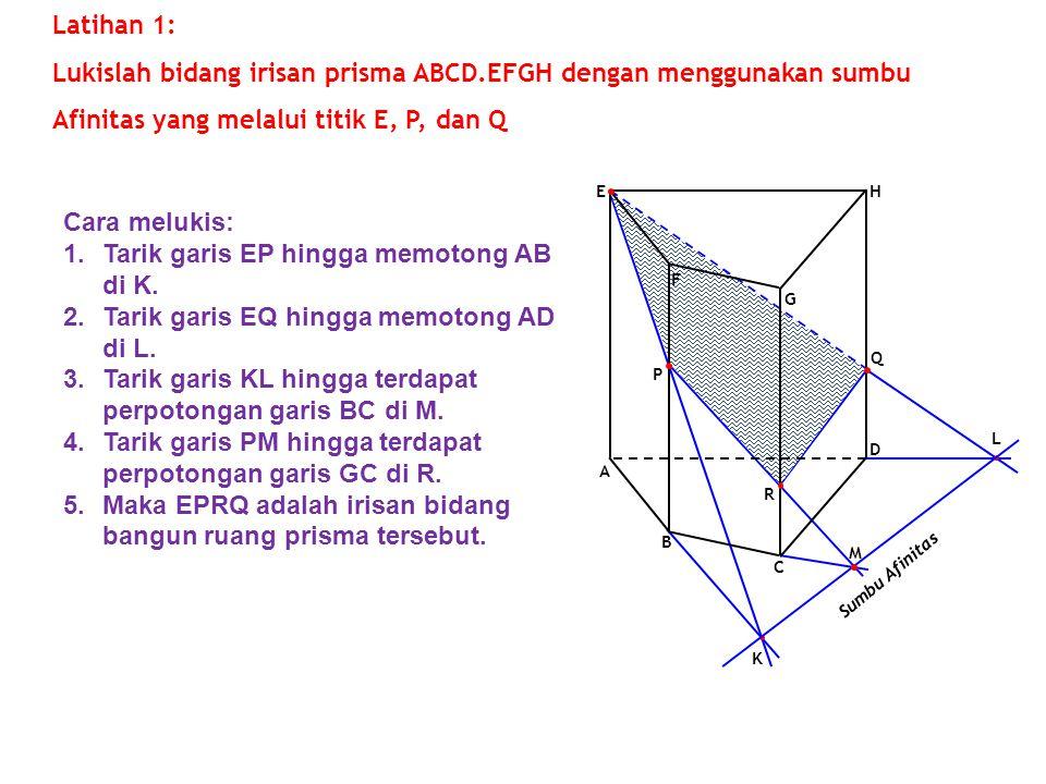 K L Sumbu Afinitas M F G A E D B C H Q P Latihan 1: Lukislah bidang irisan prisma ABCD.EFGH dengan menggunakan sumbu Afinitas yang melalui titik E, P,
