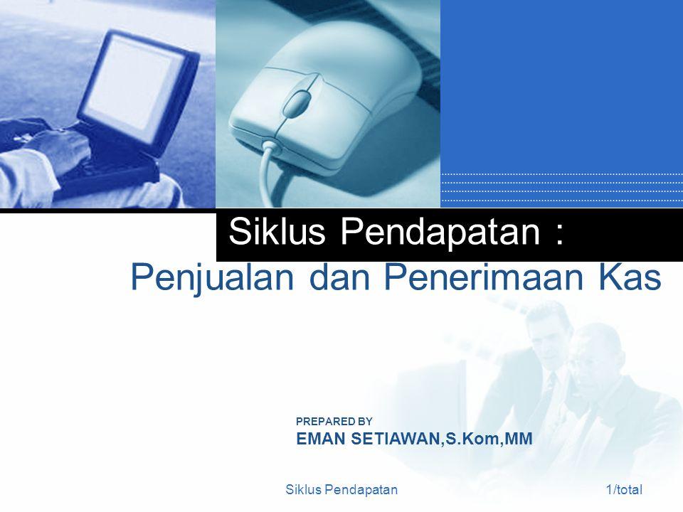 Siklus Pendapatan1/total Siklus Pendapatan : Penjualan dan Penerimaan Kas PREPARED BY EMAN SETIAWAN,S.Kom,MM