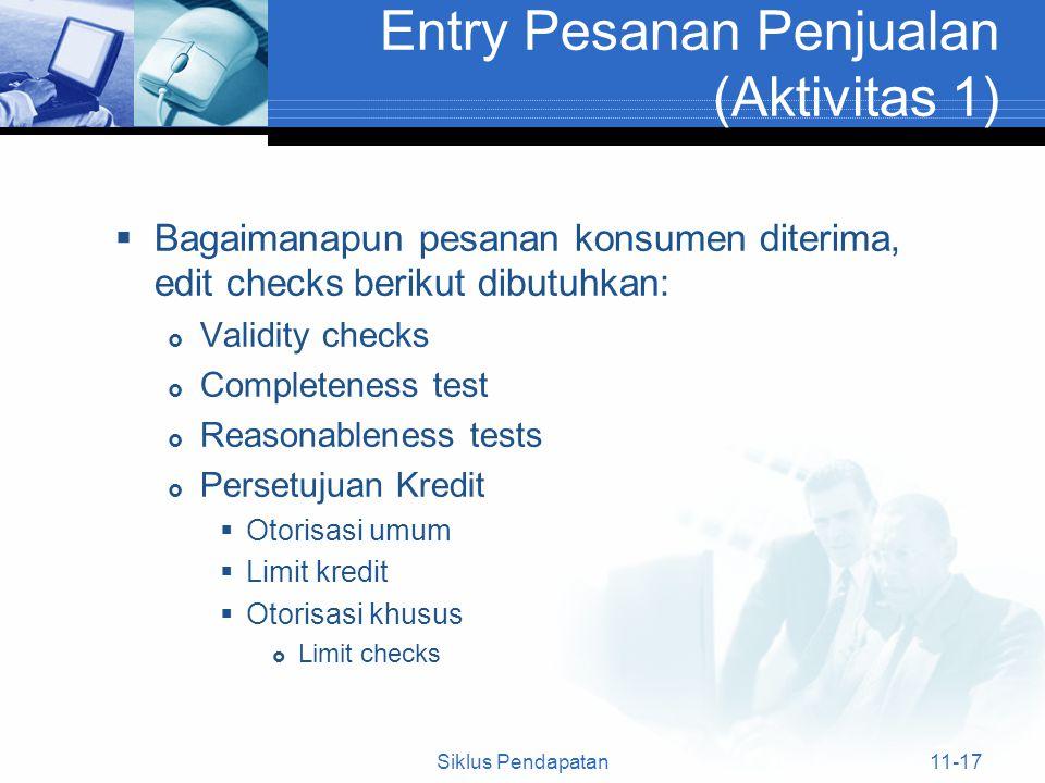  Bagaimanapun pesanan konsumen diterima, edit checks berikut dibutuhkan:  Validity checks  Completeness test  Reasonableness tests  Persetujuan K