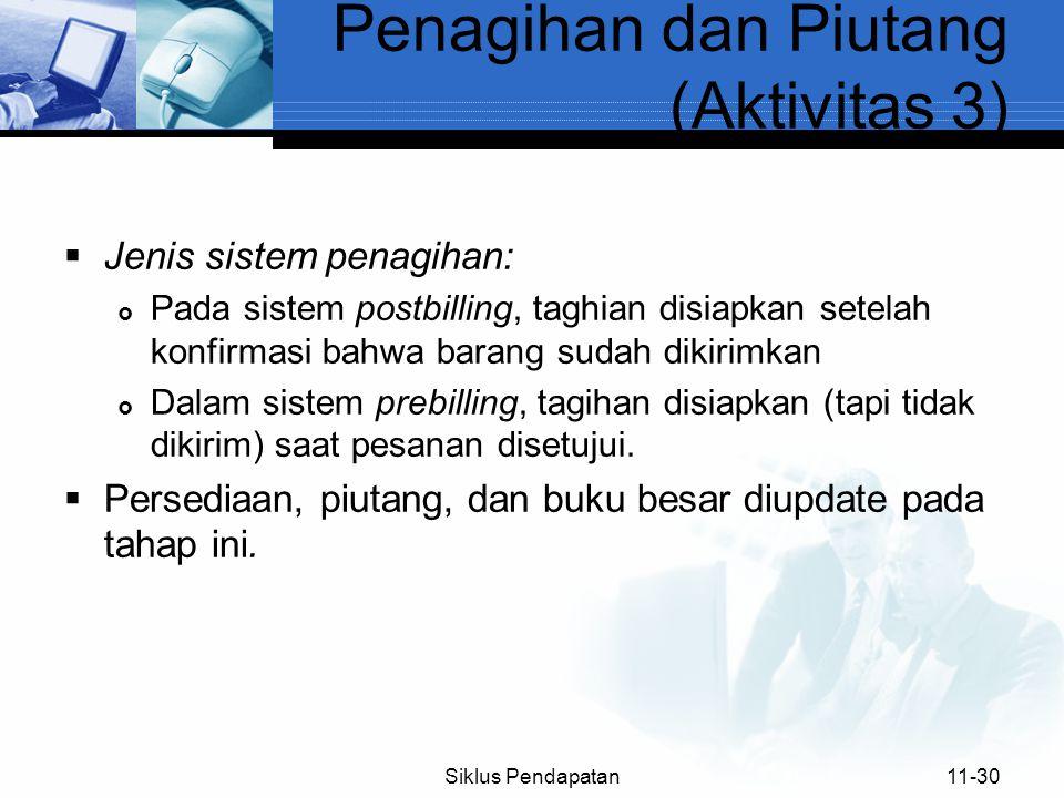  Jenis sistem penagihan:  Pada sistem postbilling, taghian disiapkan setelah konfirmasi bahwa barang sudah dikirimkan  Dalam sistem prebilling, tag