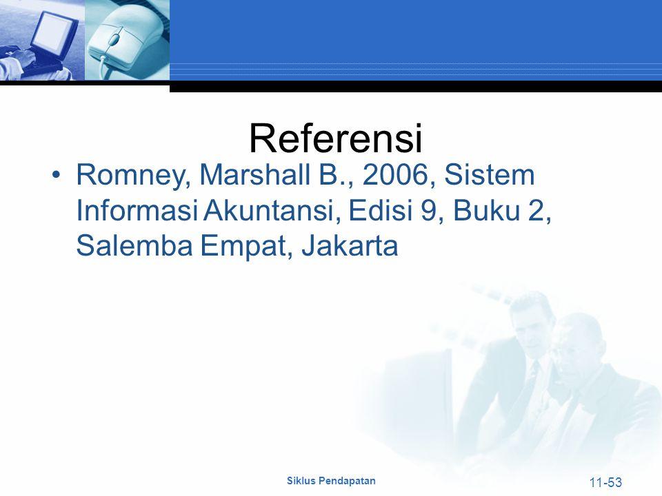 Siklus Pendapatan 11-53 Referensi Romney, Marshall B., 2006, Sistem Informasi Akuntansi, Edisi 9, Buku 2, Salemba Empat, Jakarta