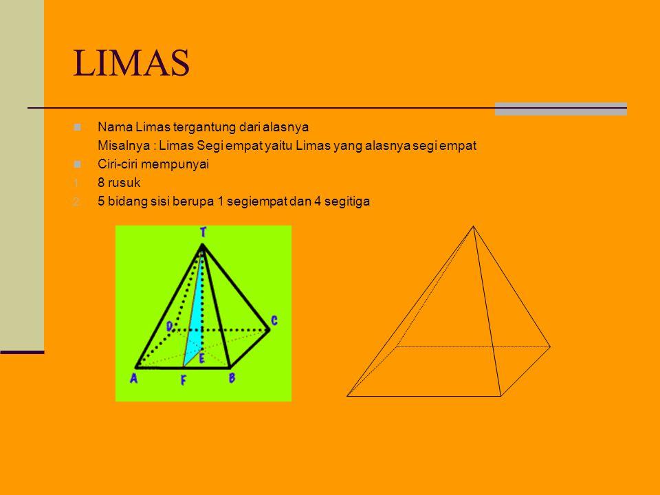 LIMAS Nama Limas tergantung dari alasnya Misalnya : Limas Segi empat yaitu Limas yang alasnya segi empat Ciri-ciri mempunyai 1.