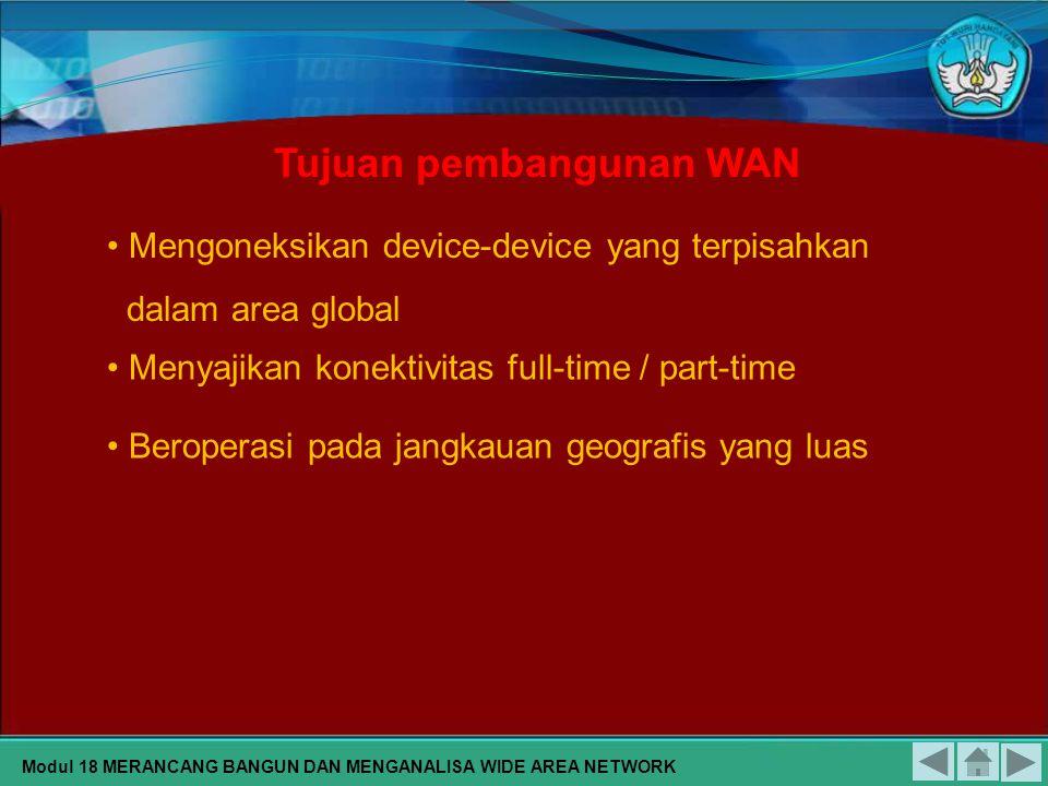 Mengoneksikan device-device yang terpisahkan dalam area global Menyajikan konektivitas full-time / part-time Beroperasi pada jangkauan geografis yang luas Tujuan pembangunan WAN Modul 18 MERANCANG BANGUN DAN MENGANALISA WIDE AREA NETWORK