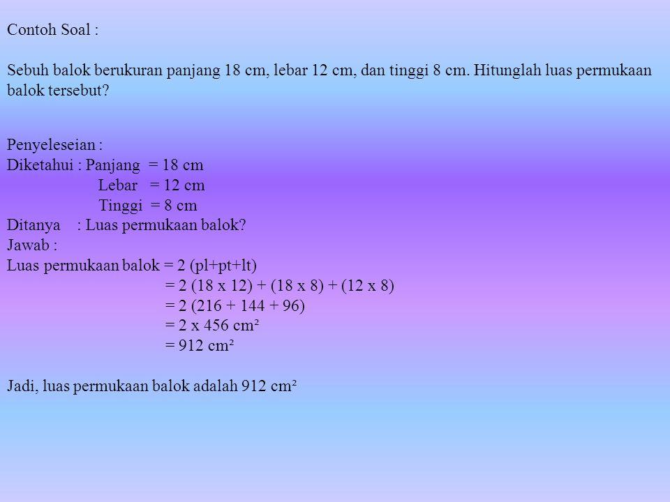 Menghitung luas permukaan balok dapat dilakukan dengan menggunakan rumus sebagai berikut: L = 2pl + 2pt + 2lt Dimana : p= panjang, l= lebar, dan t= tinggi