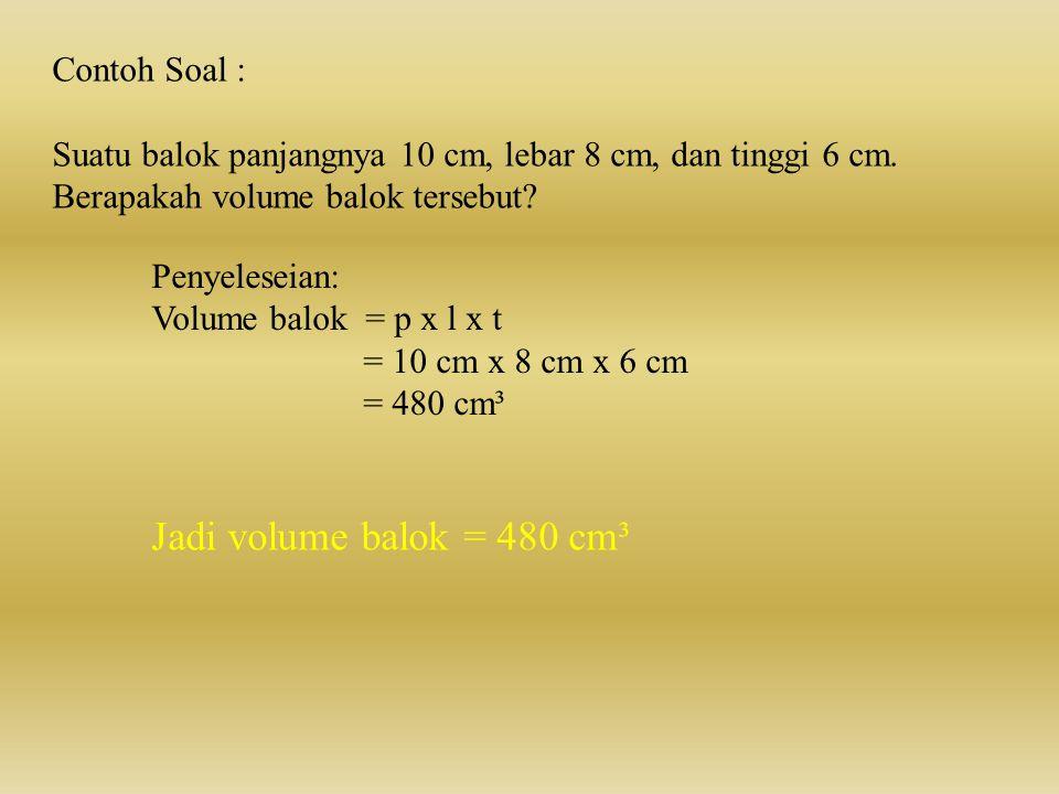 Volume balok dapat dihitung dengan rumus: V = p x l x t Dimana : p= panjang, l= lebar, dan t= tinggi