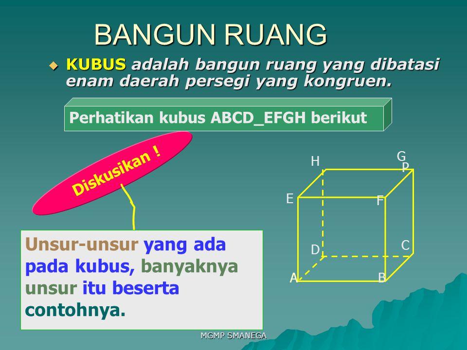 MGMP SMANEGA BANGUN RUANG  KUBUS adalah bangun ruang yang dibatasi enam daerah persegi yang kongruen.