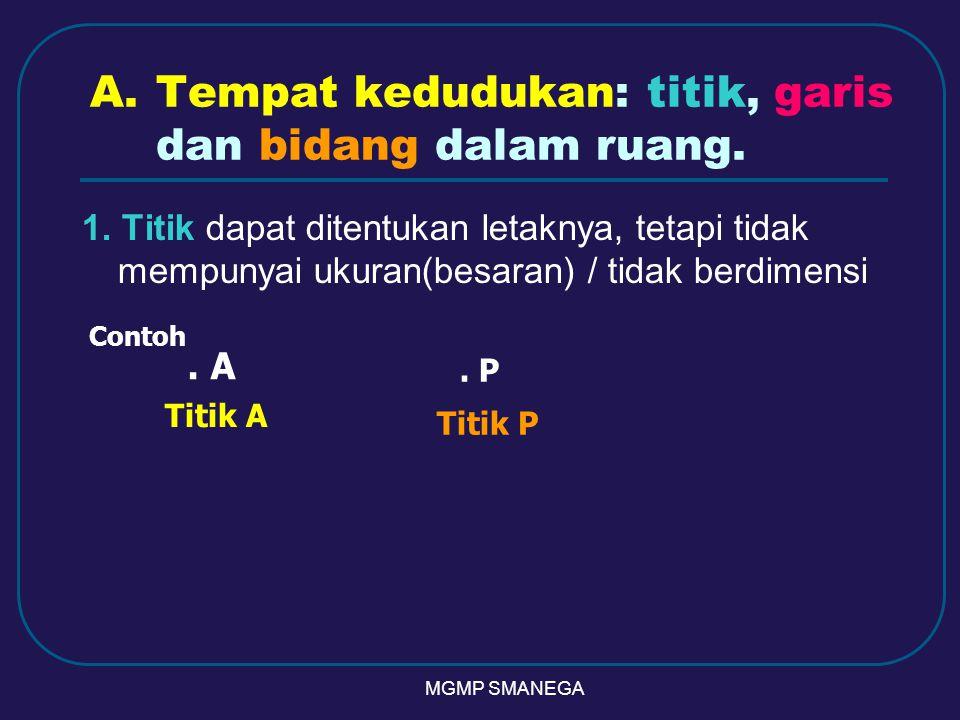 A.Tempat kedudukan: titik, garis dan bidang dalam ruang.