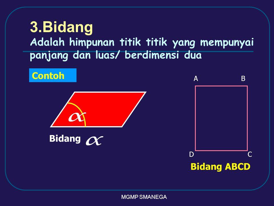 MGMP SMANEGA 3.Bidang Adalah himpunan titik titik yang mempunyai panjang dan luas/ berdimensi dua Contoh Bidang AB CD Bidang ABCD
