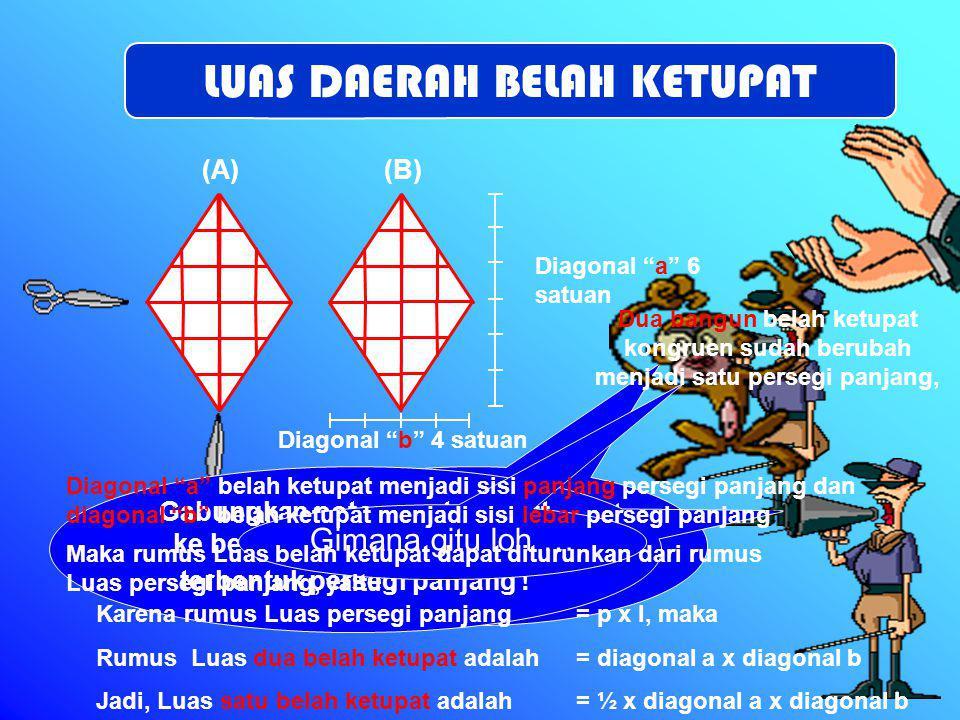 """Sisi """" b """" 5 satuan Tinggi segitiga 2 satuan Gabungkan kedua trapesium tersebut sehingga berbetuk jajar genjang ! Sisi """" a """" 2 satuan Sisi """" a """" dan s"""