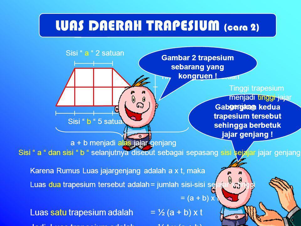 Sisi a 3 satuan Sisi b 6 satuan Tinggi trapesium 2 satuan Sisi a dan sisi b disebut sebagai sepasang sisi sejajar trapesium Trapesium sudah berubah bentuk menjadi jajar genjang t jajar genjang = ½ t trapesium Sepasang sisi sejajar trapesium sekarang menjadi alas jajar genjang (a+b), dan ½ t trapesium menjadi tinggi jajar genjang Maka rumus Luas trapesium dapat diturunkan dari rumus Luas jajar genjang, yaitu : Potong antara sisi sejajar tepat pada ½ tinggi sehingga menjadi dua bangun datar Bentuklah kedua potongan menjadi jajar genjang .
