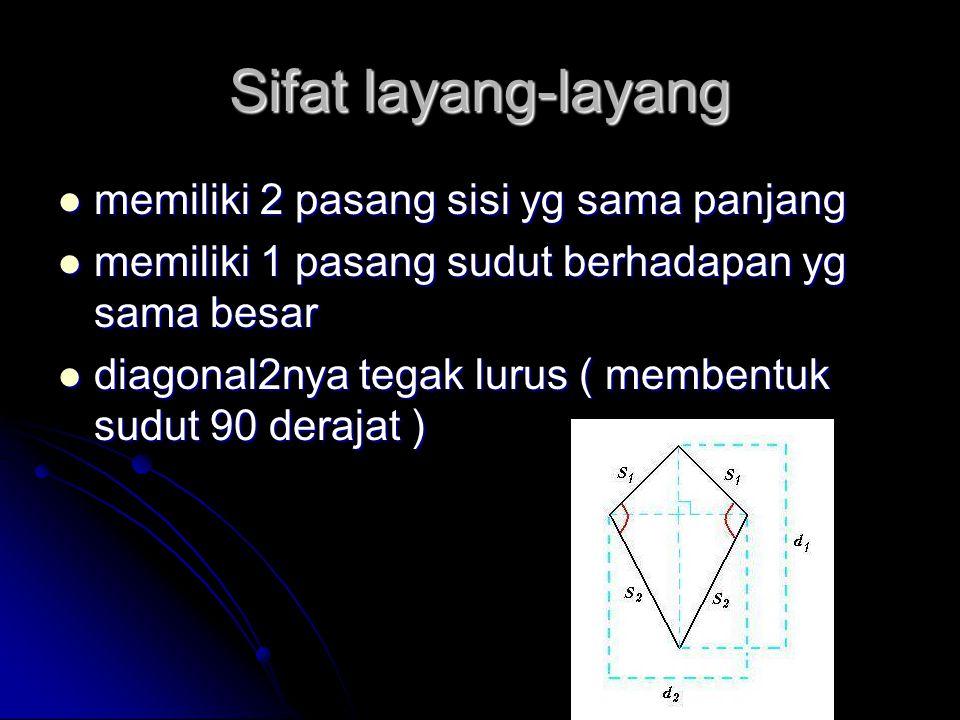Luas dan keliling layang-layang Luas layang-layang: Luas layang-layang: 1/2 x diagonal1 x diagonal2 Keliling layang-layang: Keliling layang-layang: 2 x ( sisi panjang + sisi pendek )