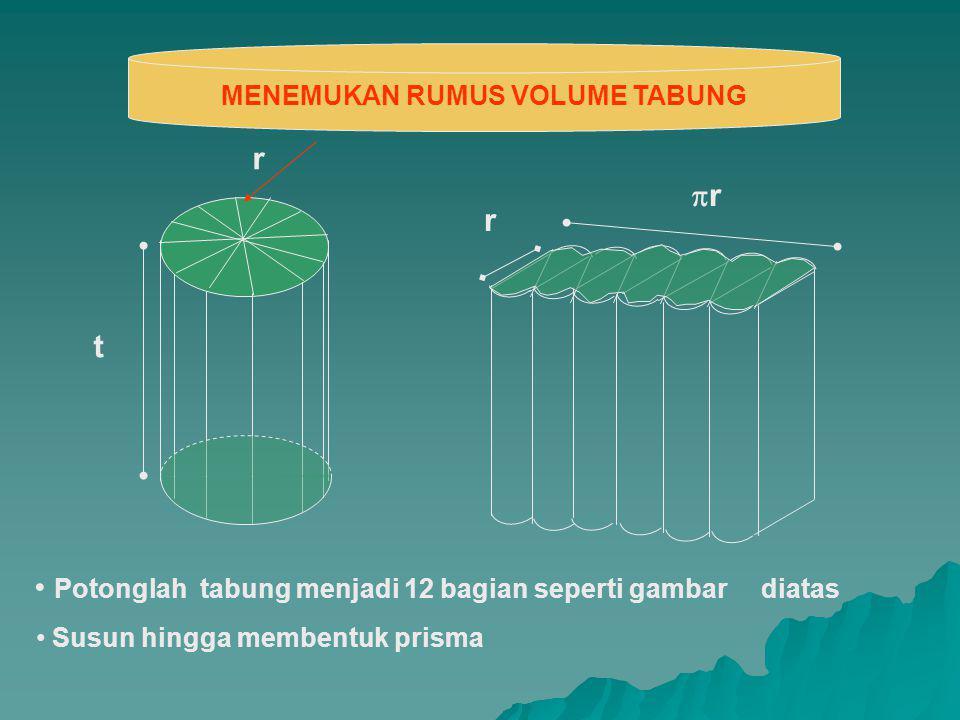 t r rr r MENEMUKAN RUMUS VOLUME TABUNG Potonglah tabung menjadi 12 bagian seperti gambar diatas Susun hingga membentuk prisma
