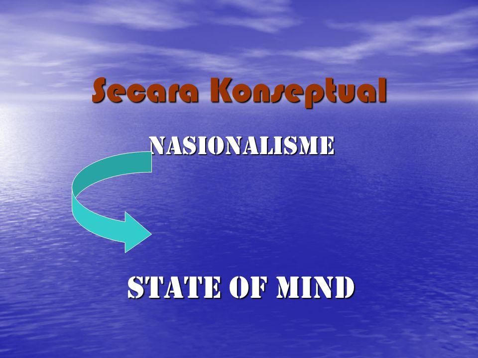 Secara Konseptual NASIONALISME State of mind
