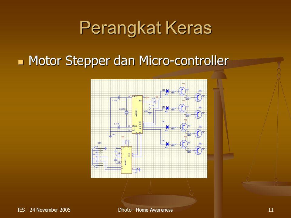 IES - 24 November 2005Dhoto - Home Awareness11 Perangkat Keras Motor Stepper dan Micro-controller Motor Stepper dan Micro-controller
