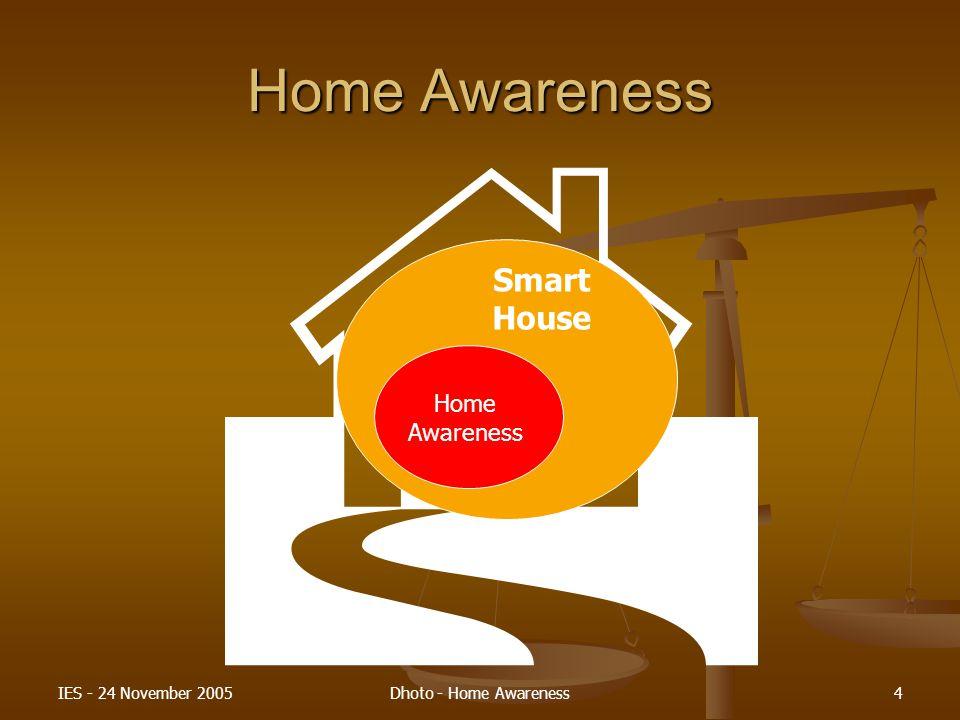 IES - 24 November 2005Dhoto - Home Awareness5 Home Awareness (cont…) Home Awareness Technology Jaringan dan Komunikasi Interfacing IT