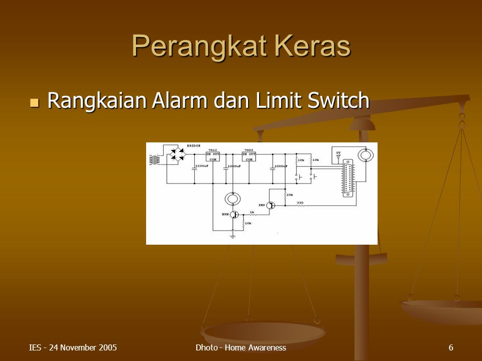 IES - 24 November 2005Dhoto - Home Awareness6 Perangkat Keras Rangkaian Alarm dan Limit Switch Rangkaian Alarm dan Limit Switch