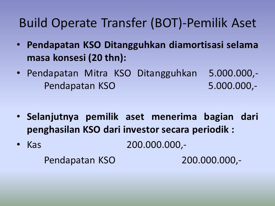 Build Operate Transfer (BOT)-Pemilik Aset Pendapatan KSO Ditangguhkan diamortisasi selama masa konsesi (20 thn): Pendapatan Mitra KSO Ditangguhkan 5.0