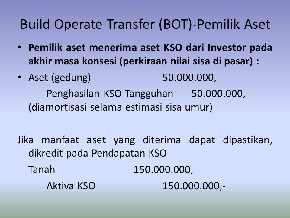 Build Operate Transfer (BOT)-Pemilik Aset Pemilik aset menerima aset KSO dari Investor pada akhir masa konsesi (perkiraan nilai sisa di pasar) : Aset