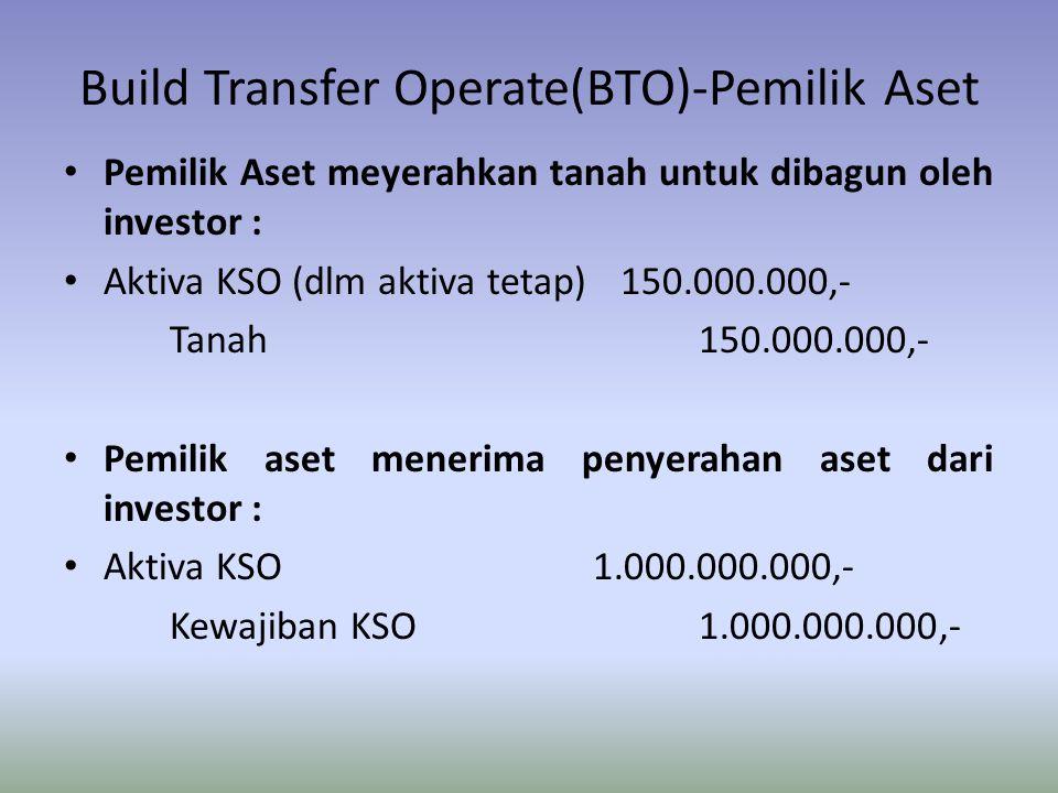 Build Transfer Operate(BTO)-Pemilik Aset Pemilik Aset meyerahkan tanah untuk dibagun oleh investor : Aktiva KSO (dlm aktiva tetap) 150.000.000,- Tanah