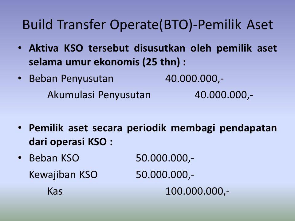 Build Transfer Operate(BTO)-Pemilik Aset Aktiva KSO tersebut disusutkan oleh pemilik aset selama umur ekonomis (25 thn) : Beban Penyusutan40.000.000,-