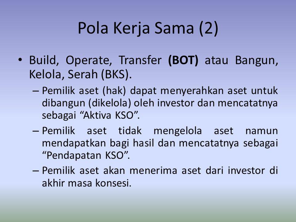 Pola Kerja Sama (2) Build, Operate, Transfer (BOT) atau Bangun, Kelola, Serah (BKS). – Pemilik aset (hak) dapat menyerahkan aset untuk dibangun (dikel