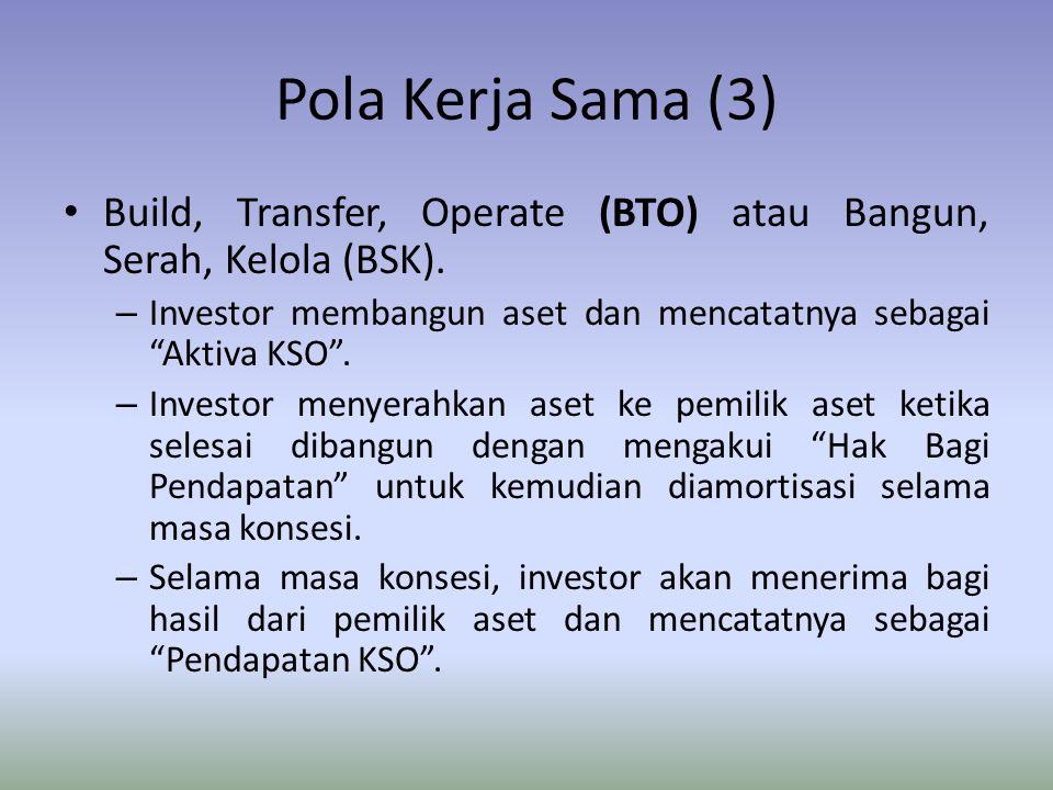 """Pola Kerja Sama (3) Build, Transfer, Operate (BTO) atau Bangun, Serah, Kelola (BSK). – Investor membangun aset dan mencatatnya sebagai """"Aktiva KSO"""". –"""