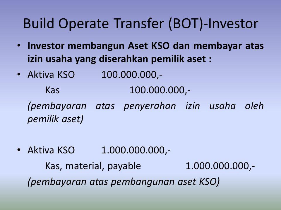 Build Operate Transfer (BOT)-Investor Investor membangun Aset KSO dan membayar atas izin usaha yang diserahkan pemilik aset : Aktiva KSO100.000.000,-
