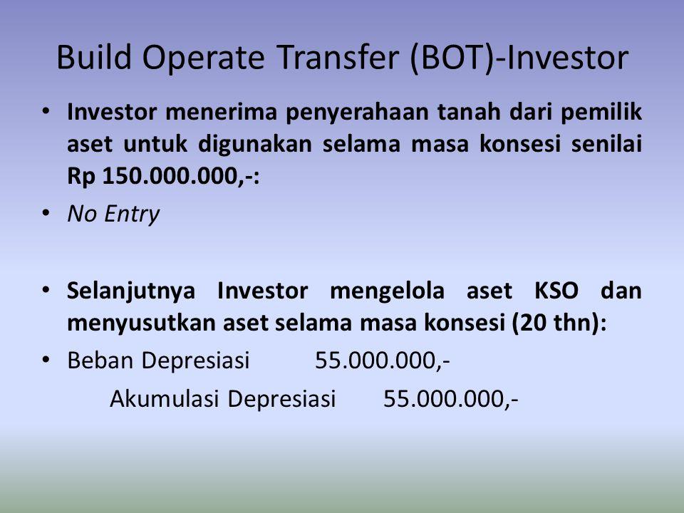 Build Operate Transfer (BOT)-Investor Investor menerima penyerahaan tanah dari pemilik aset untuk digunakan selama masa konsesi senilai Rp 150.000.000