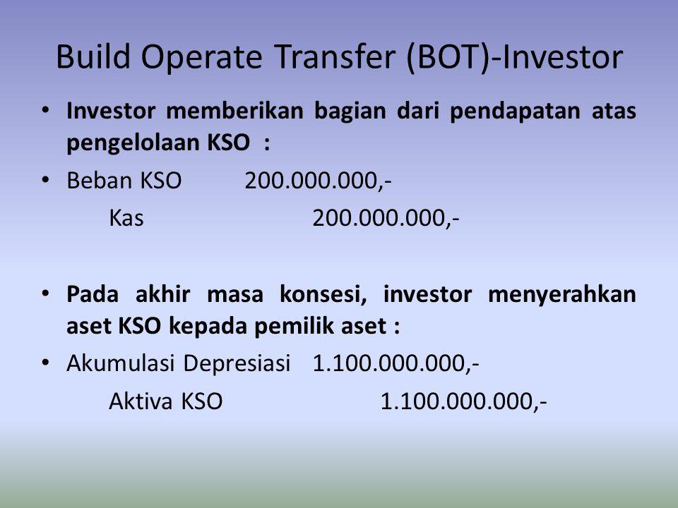 Build Operate Transfer (BOT)-Investor Investor memberikan bagian dari pendapatan atas pengelolaan KSO : Beban KSO200.000.000,- Kas200.000.000,- Pada a