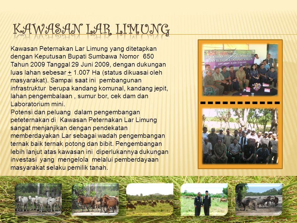 Kawasan Peternakan Lar Limung yang ditetapkan dengan Keputusan Bupati Sumbawa Nomor 650 Tahun 2009 Tanggal 29 Juni 2009, dengan dukungan luas lahan sebesar + 1.007 Ha (status dikuasai oleh masyarakat).