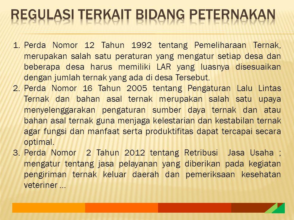 1.Perda Nomor 12 Tahun 1992 tentang Pemeliharaan Ternak, merupakan salah satu peraturan yang mengatur setiap desa dan beberapa desa harus memiliki LAR yang luasnya disesuaikan dengan jumlah ternak yang ada di desa Tersebut.