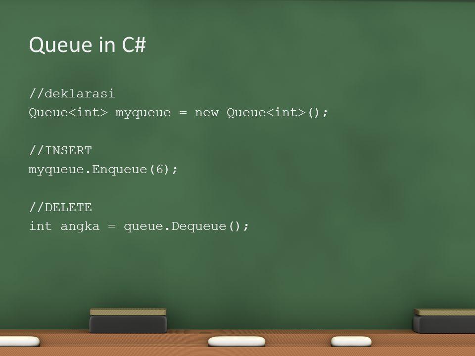 Queue in C# //deklarasi Queue myqueue = new Queue (); //INSERT myqueue.Enqueue(6); //DELETE int angka = queue.Dequeue();