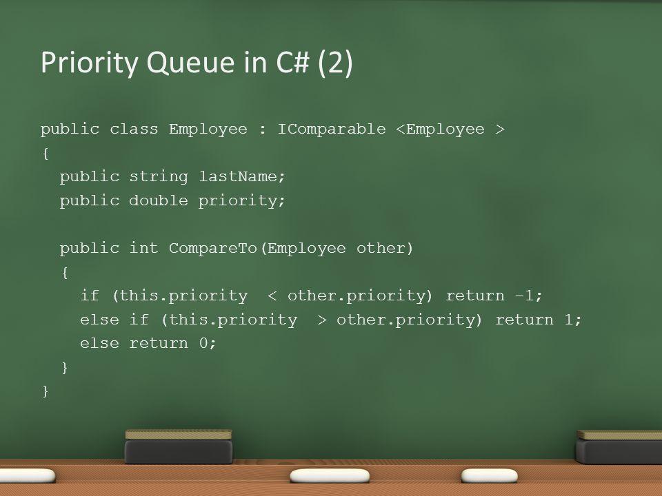 Priority Queue in C# (2) public class Employee : IComparable { public string lastName; public double priority; public int CompareTo(Employee other) { if (this.priority < other.priority) return -1; else if (this.priority > other.priority) return 1; else return 0; }