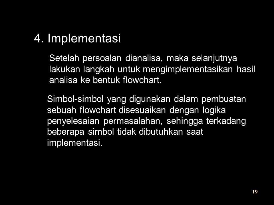 4. Implementasi Setelah persoalan dianalisa, maka selanjutnya lakukan langkah untuk mengimplementasikan hasil analisa ke bentuk flowchart. Simbol-simb