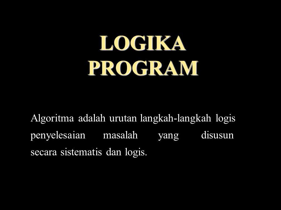 LOGIKA PROGRAM Algoritma adalah urutan langkah-langkah logis penyelesaian masalah yang disusun secara sistematis dan logis.