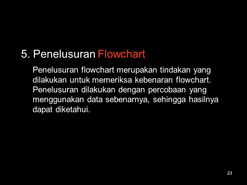 5. Penelusuran Flowchart Penelusuran flowchart merupakan tindakan yang dilakukan untuk memeriksa kebenaran flowchart. Penelusuran dilakukan dengan per