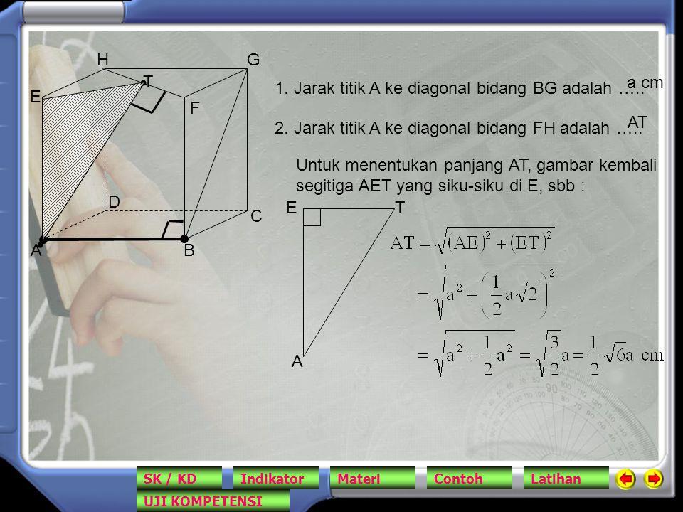 AB C D E F GH 1. Jarak titik A ke diagonal bidang BG adalah ….. a cm 2. Jarak titik A ke diagonal bidang FH adalah ….. AT T Untuk menentukan panjang A