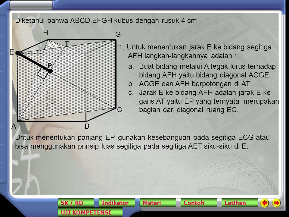 Diketahui bahwa ABCD.EFGH kubus dengan rusuk 4 cm AB C D E F G H 1. Untuk menentukan jarak E ke bidang segitiga AFH langkah-langkahnya adalah : a.Buat