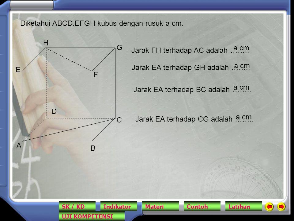A B C D E F G H Jarak FH terhadap AC adalah …….. Diketahui ABCD.EFGH kubus dengan rusuk a cm. a cm Jarak EA terhadap GH adalah …….. a cm Jarak EA terh