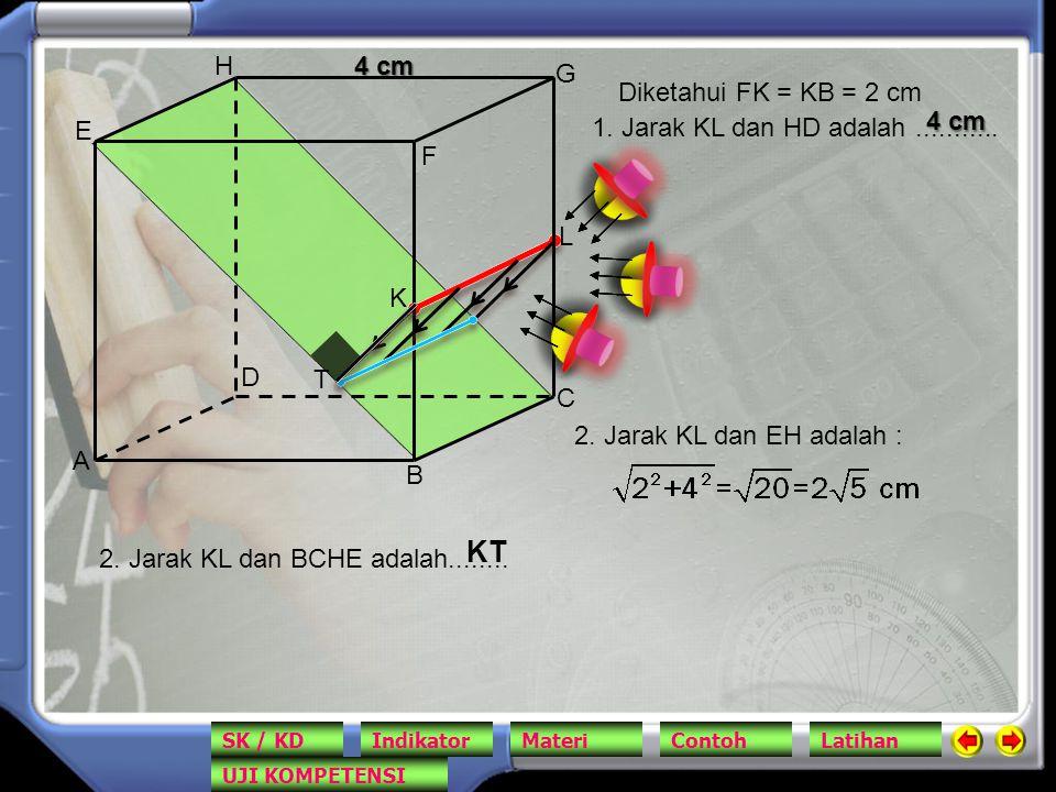 A B C D E F G H 4 cm K L 1. Jarak KL dan HD adalah........... 2. Jarak KL dan EH adalah : Diketahui FK = KB = 2 cm 2. Jarak KL dan BCHE adalah........