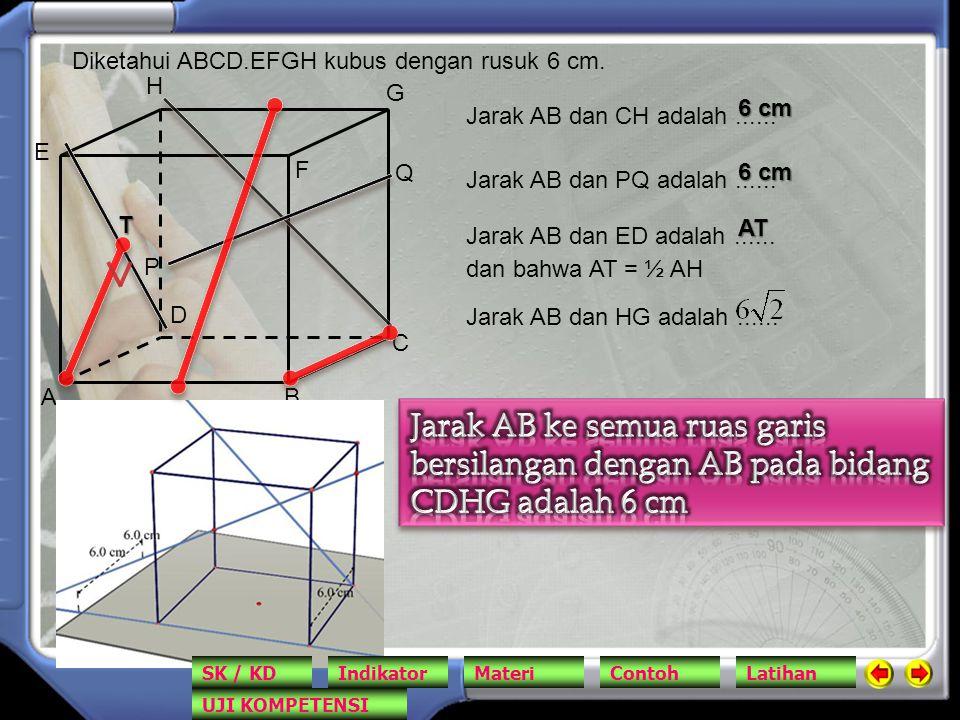 AB C D E F G H Diketahui ABCD.EFGH kubus dengan rusuk 6 cm. Jarak AB dan CH adalah...... 6 cm P Q Jarak AB dan PQ adalah...... Jarak AB dan ED adalah.