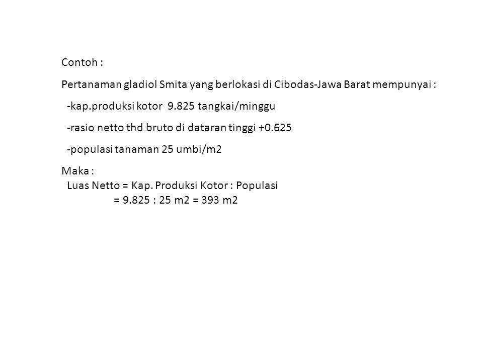 Contoh : Pertanaman gladiol Smita yang berlokasi di Cibodas-Jawa Barat mempunyai : -kap.produksi kotor 9.825 tangkai/minggu -rasio netto thd bruto di dataran tinggi +0.625 -populasi tanaman 25 umbi/m2 Maka : Luas Netto = Kap.