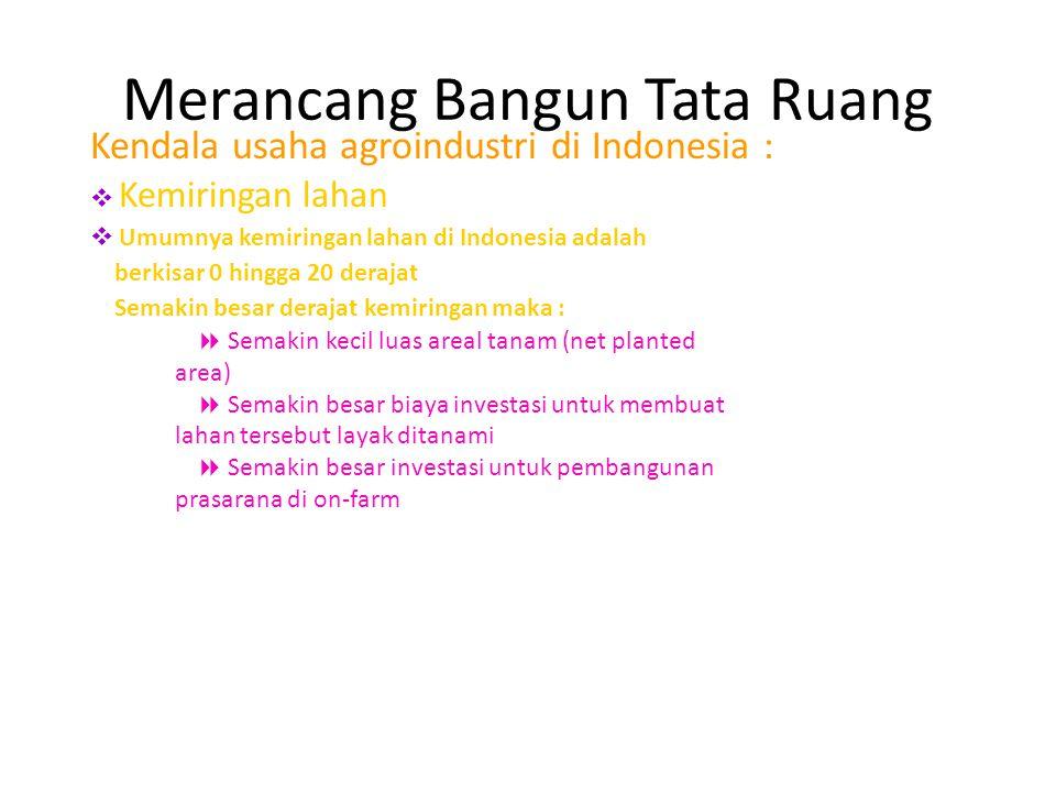 Kendala usaha agroindustri di Indonesia :  Kemiringan lahan  Umumnya kemiringan lahan di Indonesia adalah berkisar 0 hingga 20 derajat Semakin besar derajat kemiringan maka :  Semakin kecil luas areal tanam (net planted area)  Semakin besar biaya investasi untuk membuat lahan tersebut layak ditanami  Semakin besar investasi untuk pembangunan prasarana di on-farm