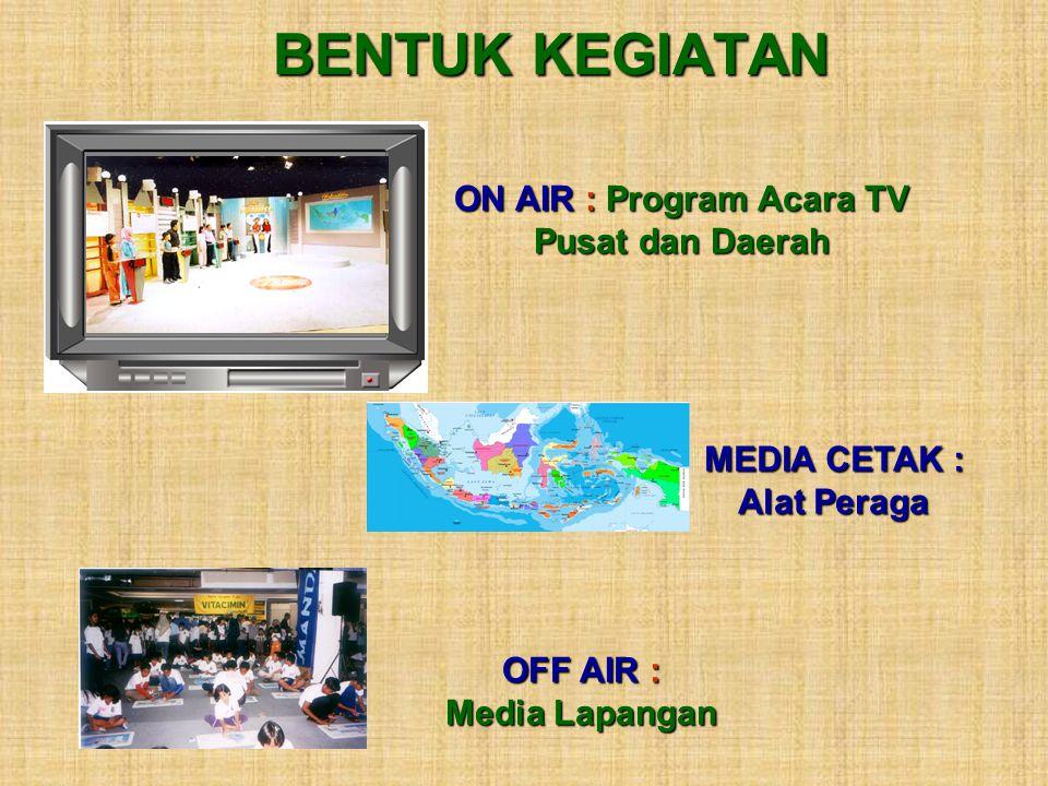 BENTUK KEGIATAN ON AIR : Program Acara TV Pusat dan Daerah MEDIA CETAK : Alat Peraga OFF AIR : Media Lapangan