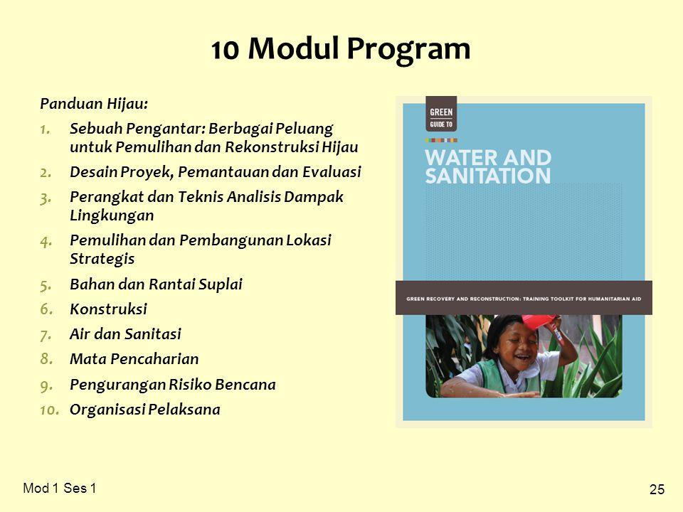 25 Mod 1 Ses 1 10 Modul Program Panduan Hijau: 1.Sebuah Pengantar: Berbagai Peluang untuk Pemulihan dan Rekonstruksi Hijau 2.Desain Proyek, Pemantauan dan Evaluasi 3.Perangkat dan Teknis Analisis Dampak Lingkungan 4.Pemulihan dan Pembangunan Lokasi Strategis 5.Bahan dan Rantai Suplai 6.Konstruksi 7.Air dan Sanitasi 8.Mata Pencaharian 9.Pengurangan Risiko Bencana 10.Organisasi Pelaksana