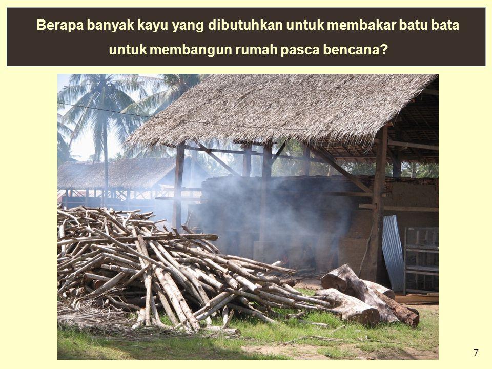 7 Berapa banyak kayu yang dibutuhkan untuk membakar batu bata untuk membangun rumah pasca bencana