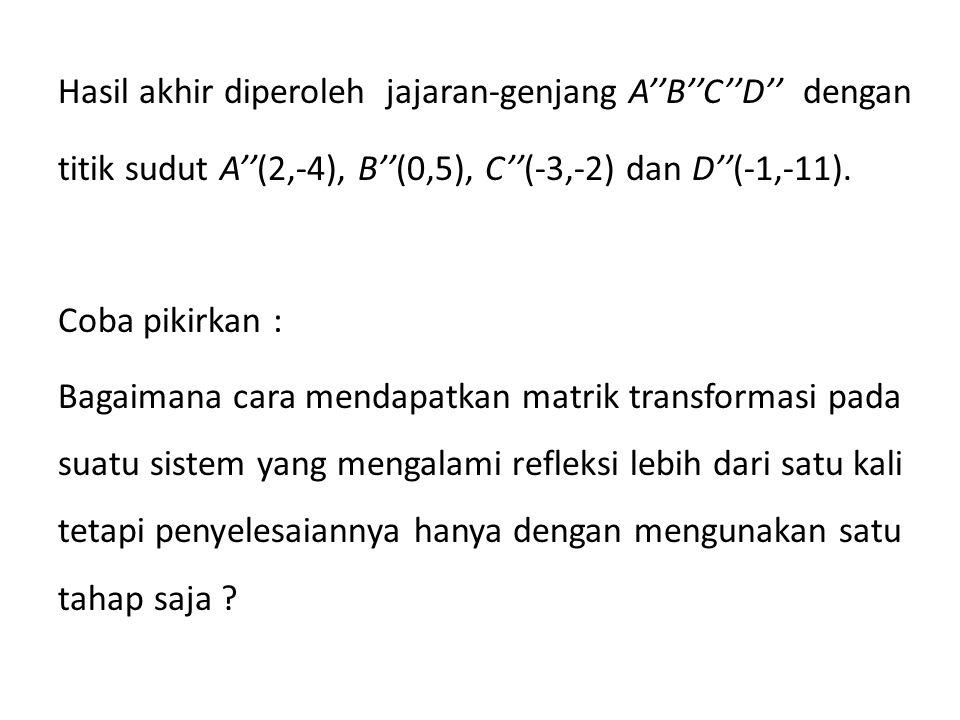 Hasil akhir diperoleh jajaran-genjang A''B''C''D'' dengan titik sudut A''(2,-4), B''(0,5), C''(-3,-2) dan D''(-1,-11). Coba pikirkan : Bagaimana cara