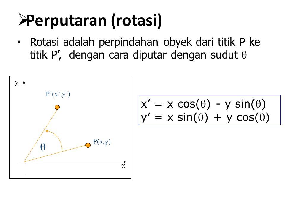  Perputaran (rotasi) Rotasi adalah perpindahan obyek dari titik P ke titik P', dengan cara diputar dengan sudut  x y P(x,y) P'(x',y')  x' = x cos(