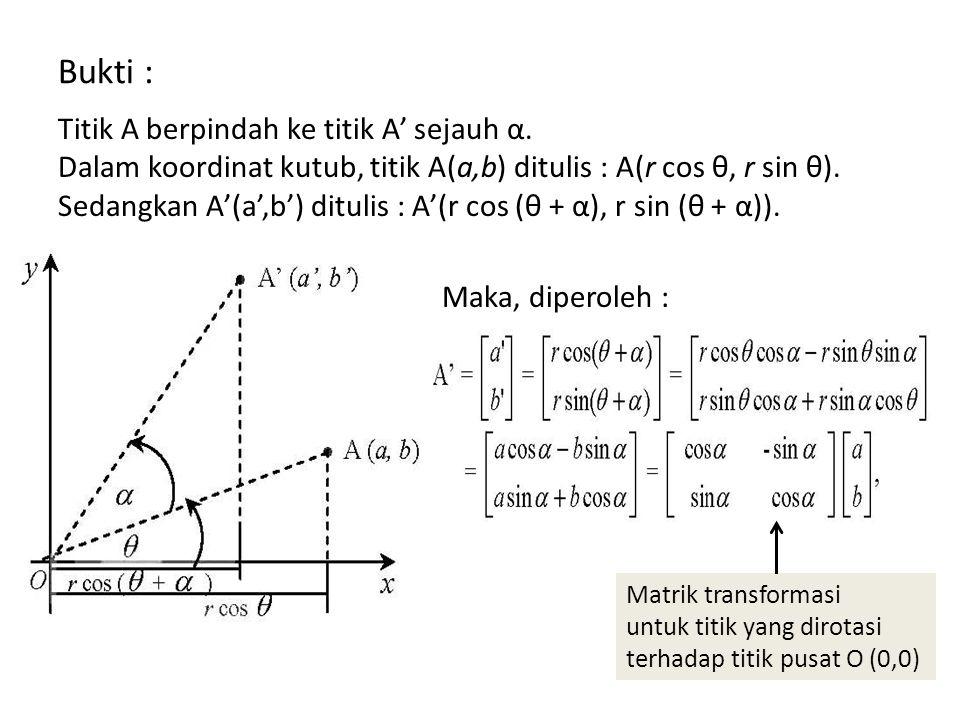 Bukti : Titik A berpindah ke titik A' sejauh α.