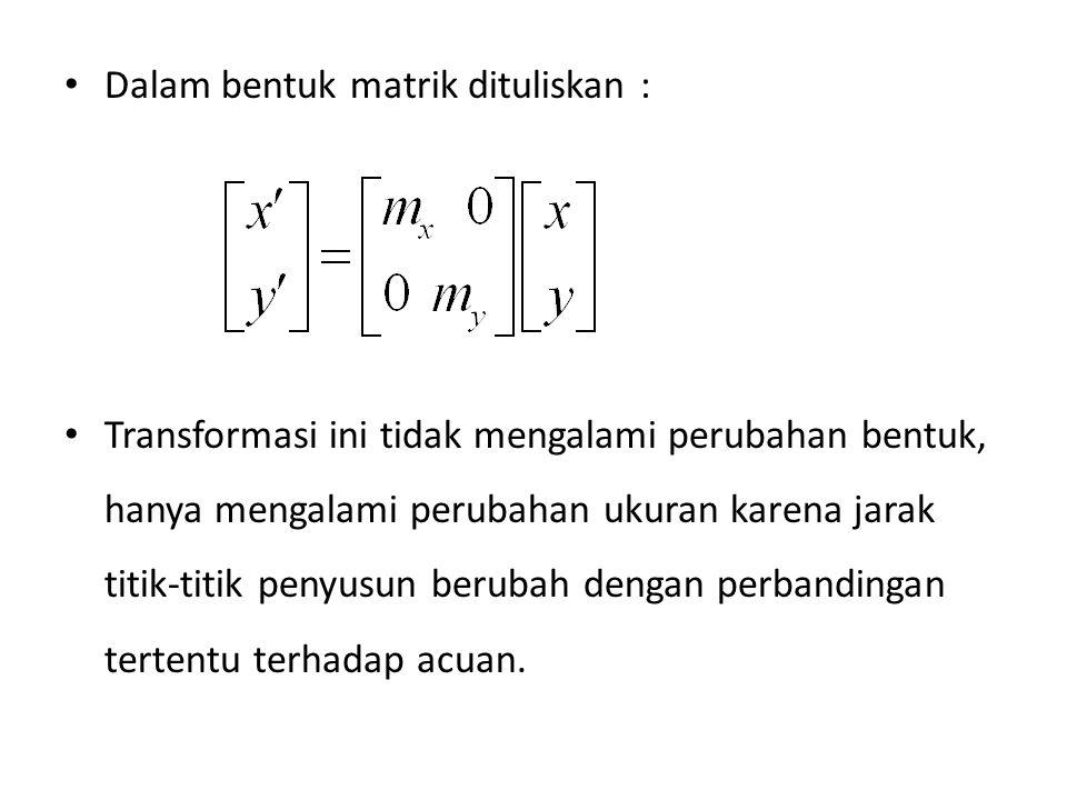 Dalam bentuk matrik dituliskan : Transformasi ini tidak mengalami perubahan bentuk, hanya mengalami perubahan ukuran karena jarak titik-titik penyusun berubah dengan perbandingan tertentu terhadap acuan.